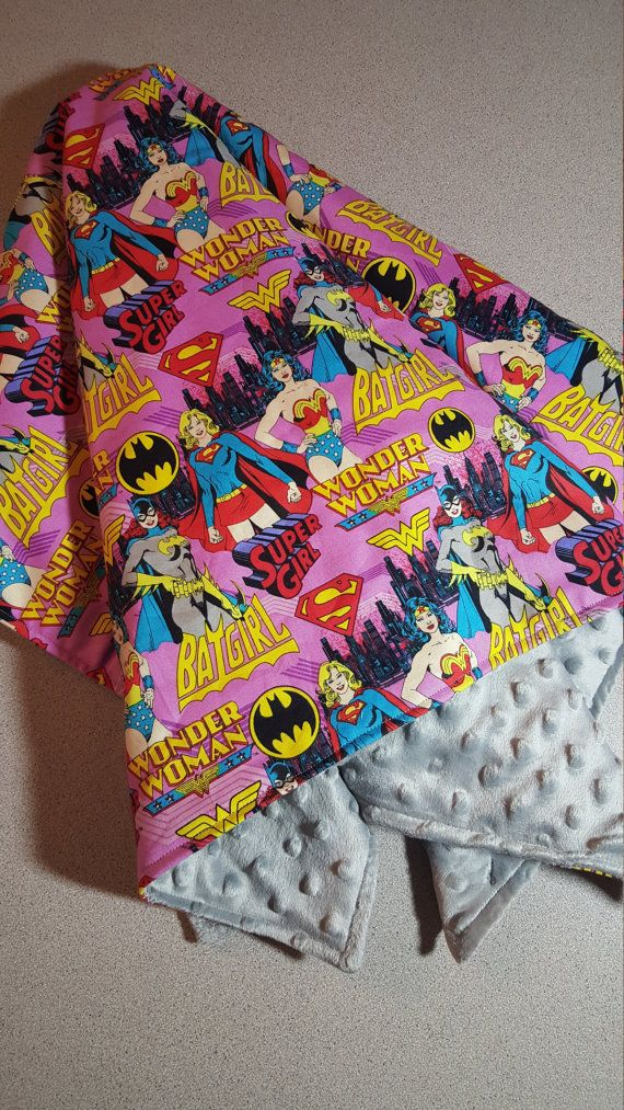 Custom Large Female Superhero Minky Blanket Handmade Baby Toddler Girl Shower Gift // Wonder Woman // Batgirl // Super GIrl