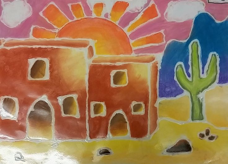 Fourth graders created these colorful glue and chalk landscapes. We learned about the Hopi Native Americans through a PowerPoint and b...