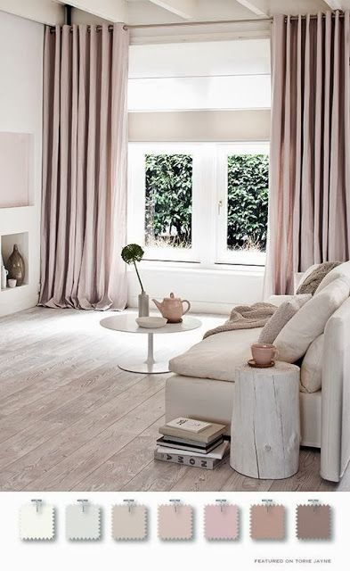 Scandinavian take  Loving the dusty pink floor to ceiling curtains, there're giving me liffffeeee!!