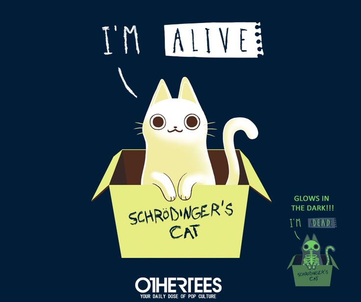 """""""Schrodinger's Night"""" by BlancaVidal T-shirts, Tank Tops, V-necks, Sweatshirts and Hoodies are on sale until May 14th at www.OtherTees.com #tshirt #othertees #nerd #cats #philosophy #quantumphysics #physics"""