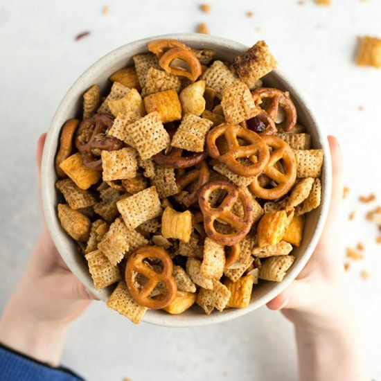 This chex mix takes me back to my childhood and has all of the flavors of the delicious sweet version but with much less sugar.