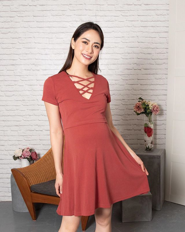 47138cc567f Dont forget our AMBAR CRISSCROSS NURSING DRESS in Red that adds a pop of  colour to your wardrobe! This intricate crisscross lace neckline gives a  casual yet ...