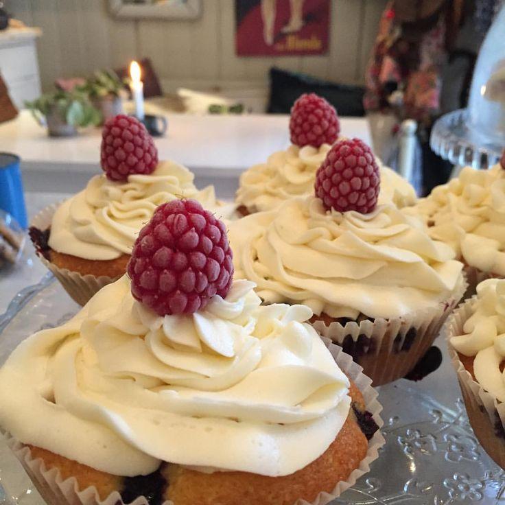 """""""Blåbær cupcakes med hvit…"""""""