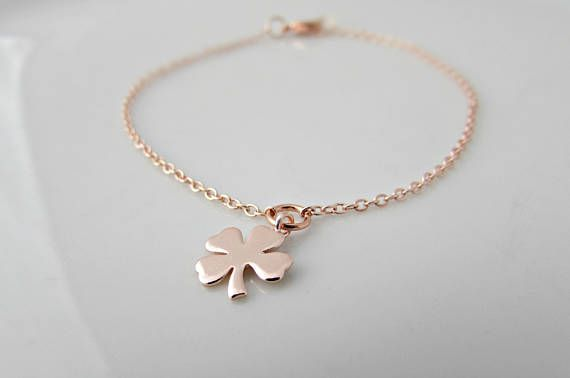 Gift Idea For Her Mother Of Pearl Four Leaf Clover Bracelet UK Seller Rose Gold Four Leaf Clover Bracelet