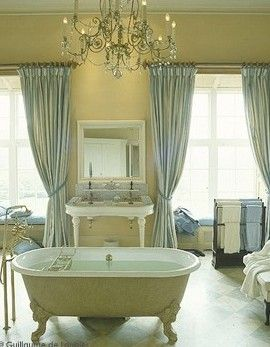 Yellow And Blue French Inspired Bathroom Is Also Has Every French Inspired  Design Element: Focal