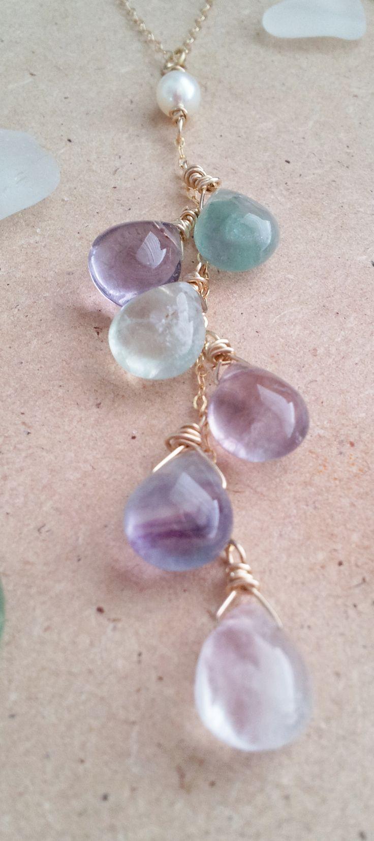 Steine übereinander Anhänger Mermaid's Tail...flourite cascading stones necklace