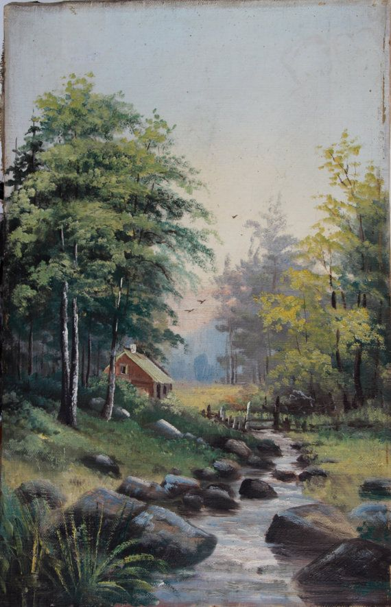 Antique Landscape Oil Painting from Sweden by VintageArtRoom, $125.00