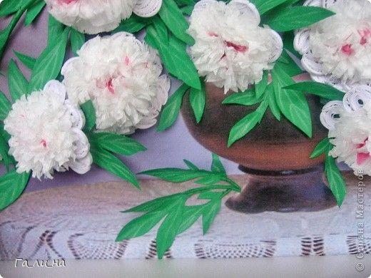 Картина панно рисунок Квиллинг Мой букет белых пионов Бумага Бумажные полосы фото 5