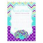 Peacock Green and Purple Words of Wisdom Card