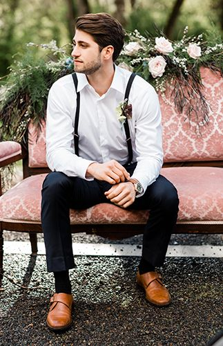 Casual groom attire for wedding | Moody Berry & Blue Wedding Inspiration via @IBTblog, pics by Monique Serra