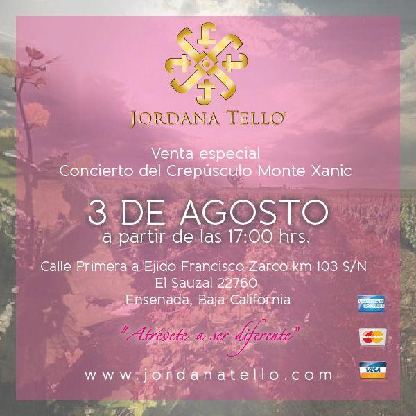 El Sábado 3 de Agosto estaremos presentes en una venta especial en el Concierto del Crepúsculo en Monte Xanic, te esperamos!!!