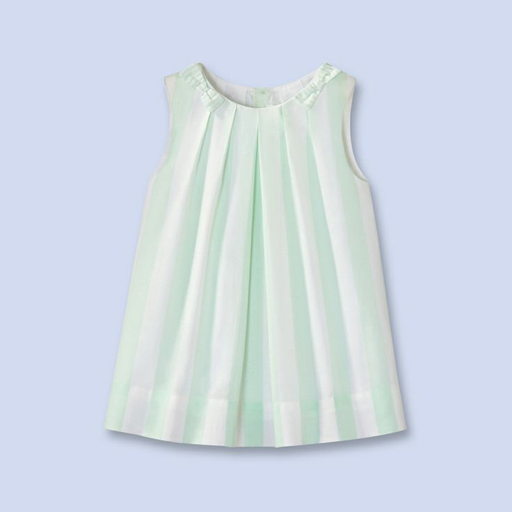 White and green stripes sleeveless baby dress, robe bébé sans manches à rayures blanches et vertes