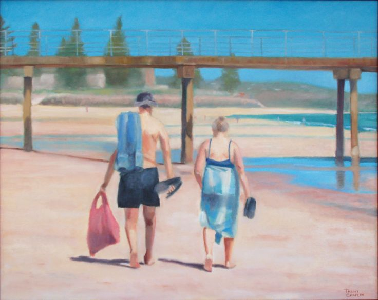 'Leaving the beach' by Trent Chaplin. Oil on canvas.