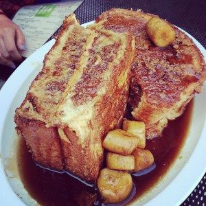 Peanut butter stuffed french toast with caramelized bananas from Highland Bakery - Atlanta GA
