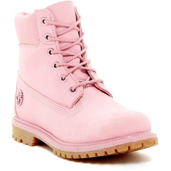 """Timberland 6"""""""" Premium Waterproof Boot - Wide Width Available ($80) ❤ liked on Polyvore featuring shoes, boots, pink, platform shoes, pink lace up boots, lug sole platform boots, pink platform boots and timberland shoes"""