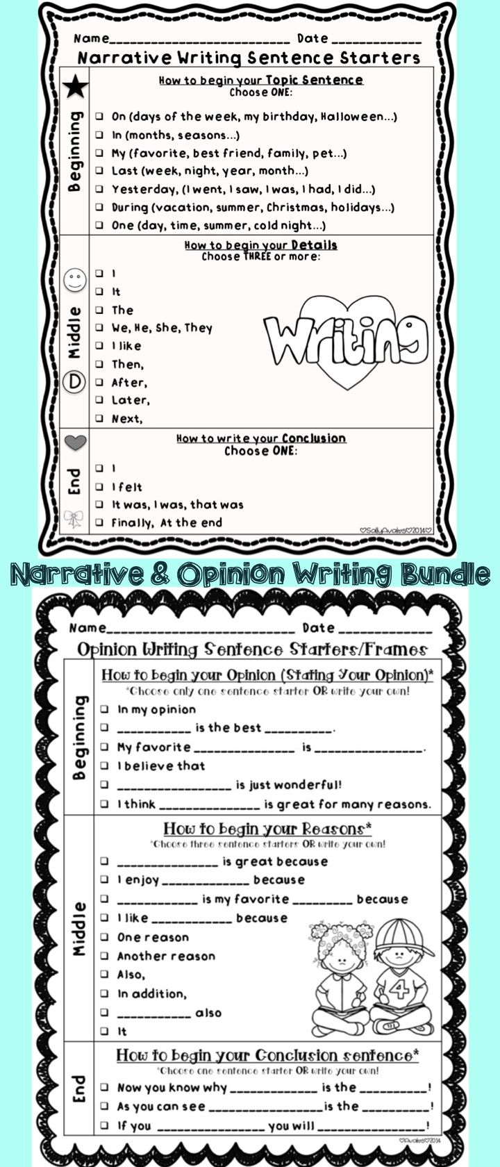 best images about narrative writing small opinion narrative writing sentence starters stems bundle any topic