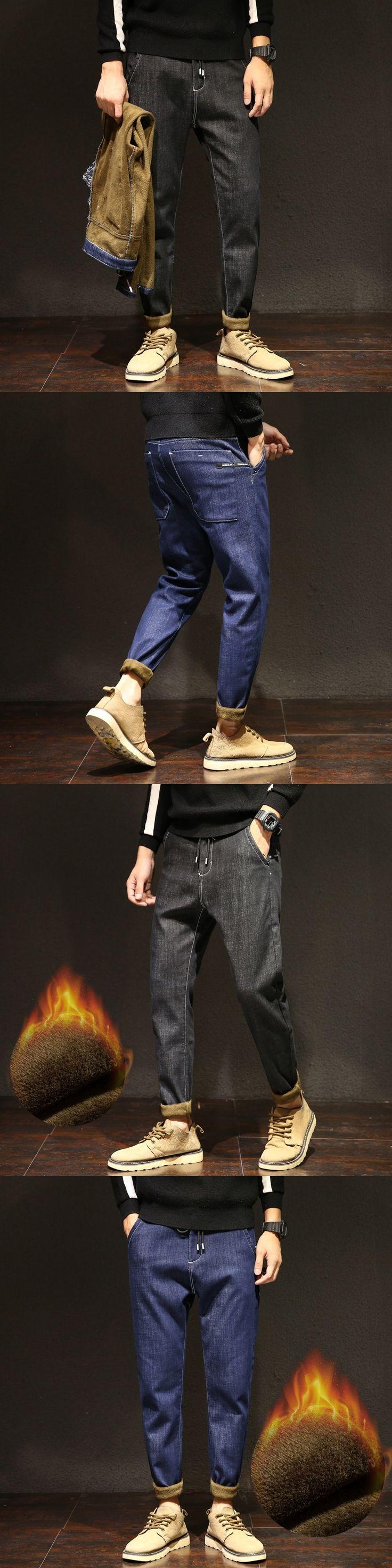 Winter Mens Stretch Jeans Warm Fleece Flannel Lined Quality Denim Jean Pants Size 28-38 Brand Black Jeans for Mens
