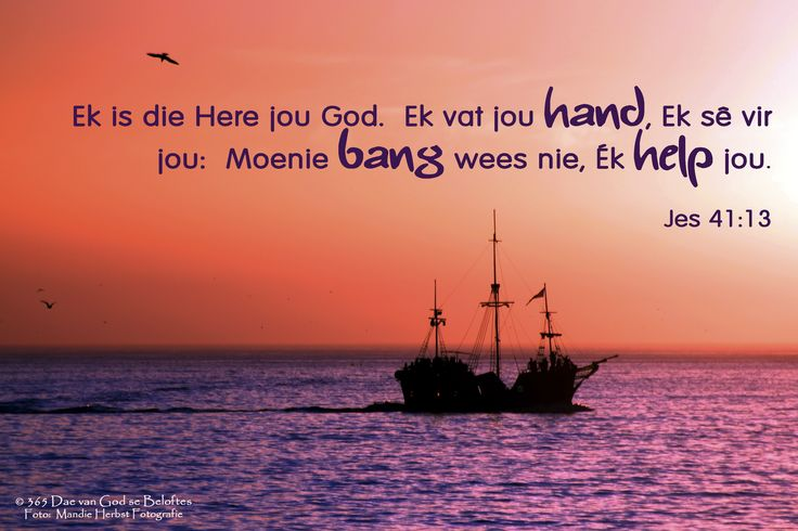 Dag 15 Bybelvers: Jesaja 41:13 Ek is die Here jou God. Ek vat jou hand, Ek sê vir jou: Moenie bang wees nie, Ék help jou.