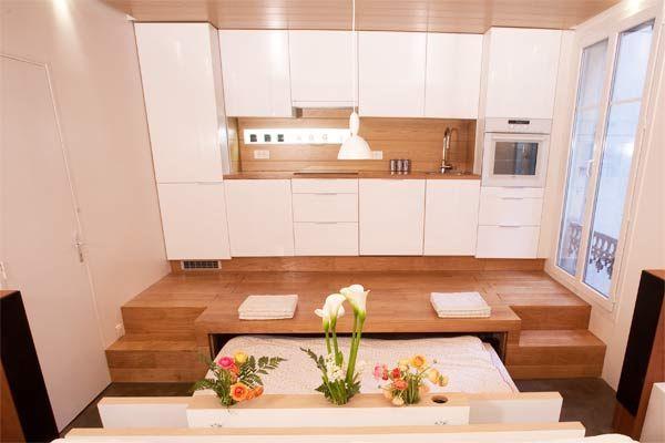 Lit encastr dans le sol de la cuisine maison pinterest cuisine and boxes - Lit cache sous podium ...