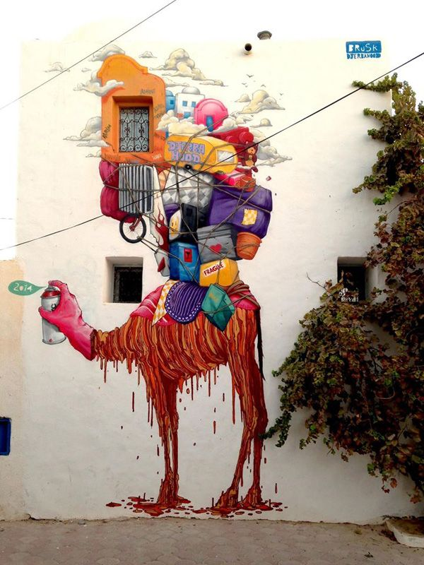 STREET ART BY BRUSK - French artist Brusk was obsessed with pencil drawings in his early age. In 1991 he started graffiti and Hip Hop in after graduation from the Ecole des Beaux – Arts de Saint Etienne.