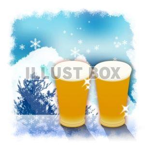 【ワンポイントイラスト】冬のビールで乾杯