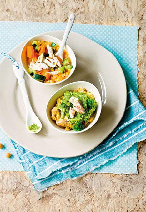 Rodelinzencurry met wortel, courgette en kip