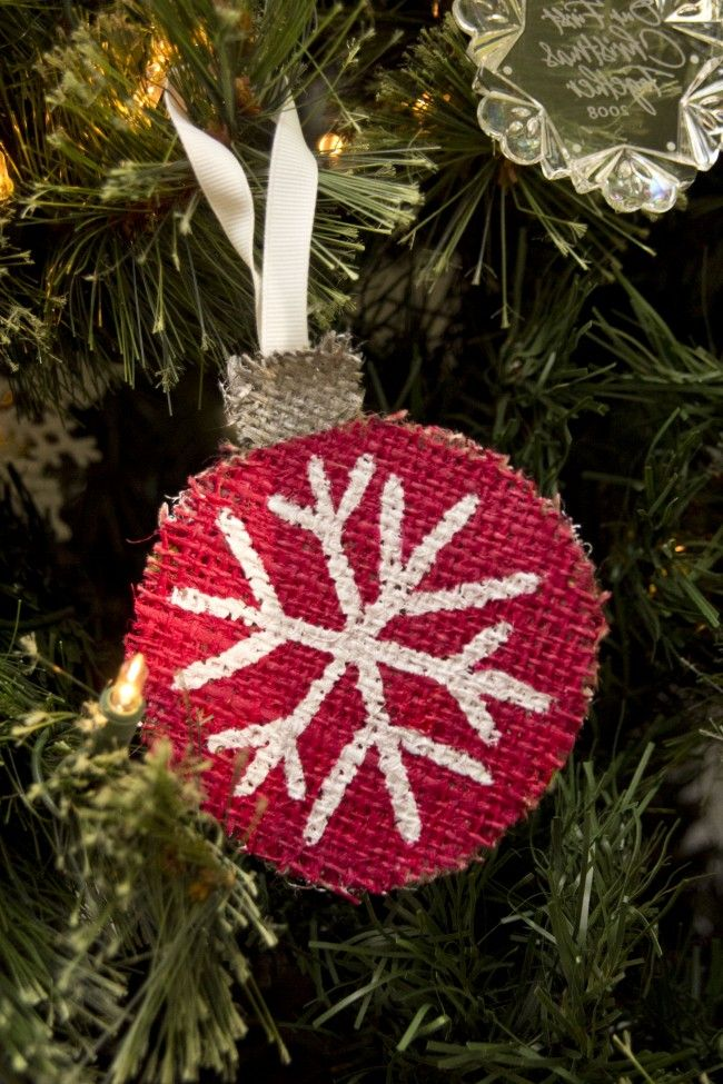 Burlap christmas ornaments craft ideas pinterest for Burlap christmas decorations to make