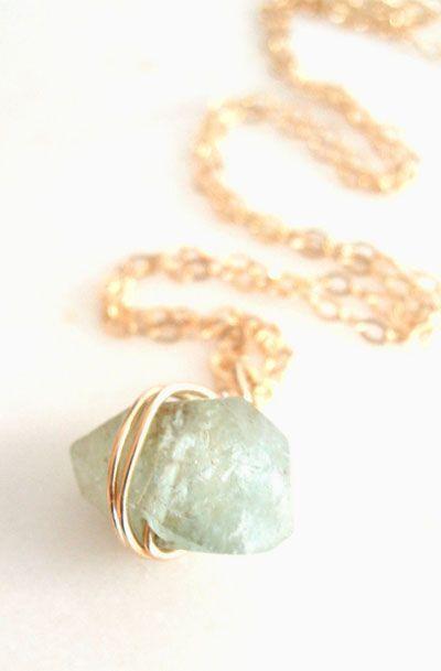Aquamarine gemstone necklace Riviera March birthstone