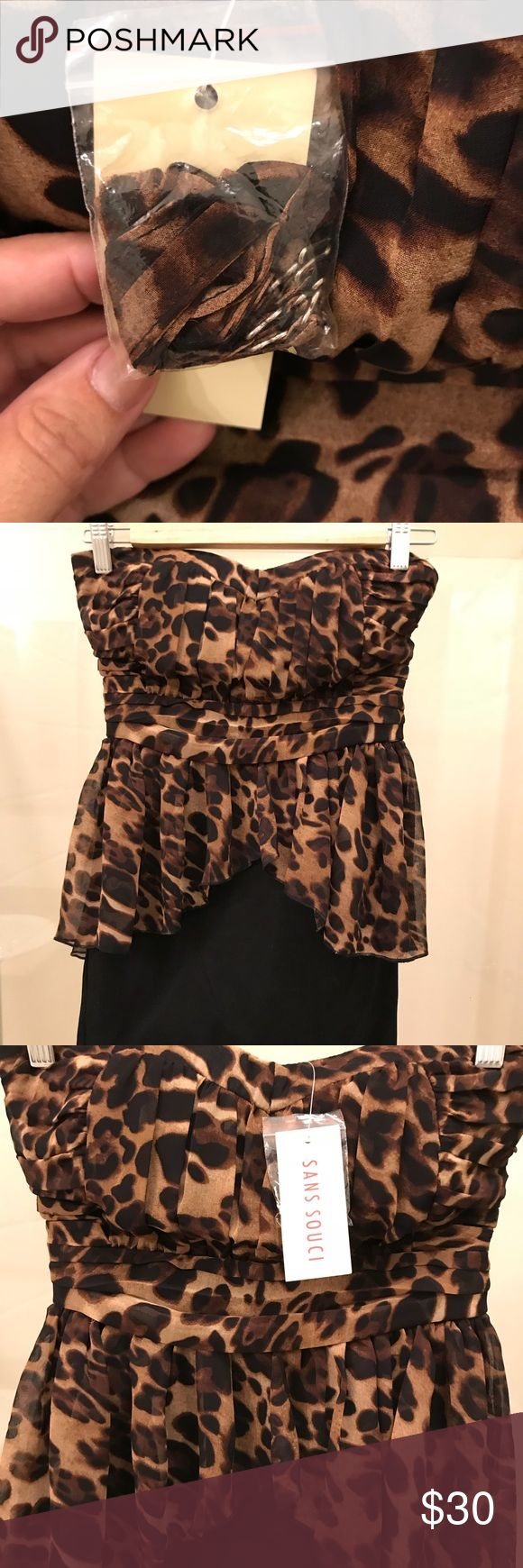 🌻 NWT 🌻 Sexy Animal Print mini dress This sexy strapless dress is perfect for a night out!! There are straps in the little pouch if you decide to wear it with straps. The zipper is on the side and very subtle. Offers always accepted!🌺 Sans Souci Dresses Mini