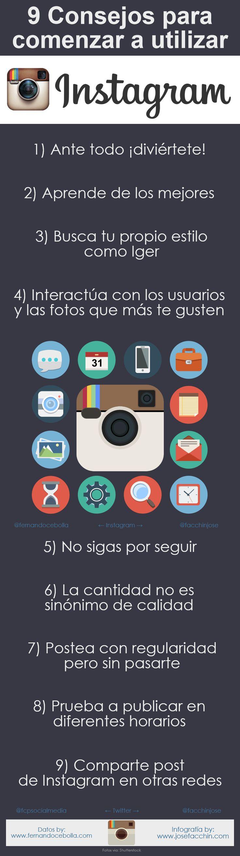 9 Consejos para comenzar a utilizar Instagram #Infografía vía @josefacchin