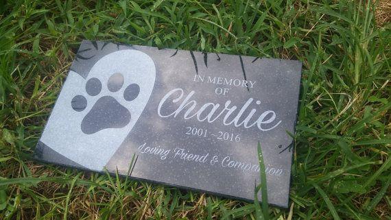 Pet memorial stone Black granite grave marker dog by PetStonesUSA