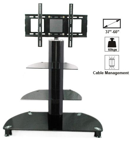 """Glass TV Stand with TV Mount Bracket Fits for Plasma LCD 3D TVs 30""""-60"""" 