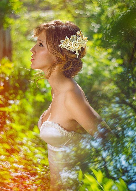 Maia Ivory & Honey Bridal Headpiece comb Silk Flowers Swarovski Crystals Hair Jewelry unique alternative