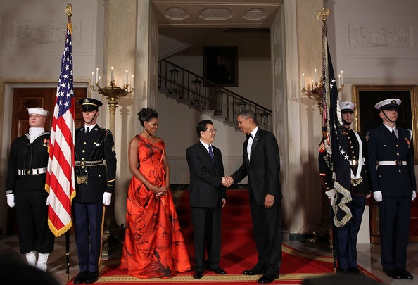 Barack Obama and Michelle Obama Photo - Obama Hosts Chinese President Hu Jintao For State Visit At White House