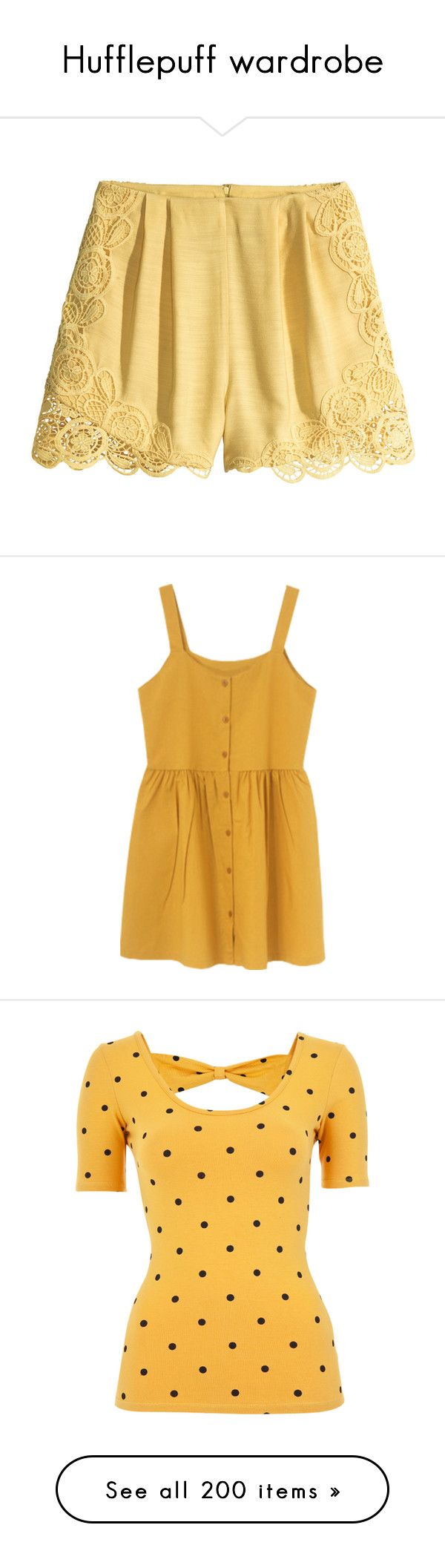 """""""Hufflepuff wardrobe"""" by weeby ❤ liked on Polyvore featuring shorts, light yellow, hot pants, high waisted lace shorts, pleated shorts, highwaist shorts, h&m, dresses, button front dress and yellow dress"""