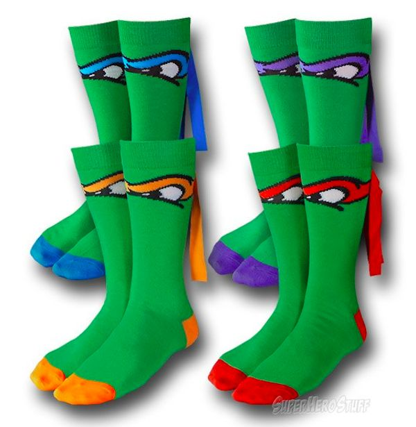 TMNT Masked Socks - Much like these caped socks, this fantastic 4 pack of socks features 4 different pairs of socks; each one made to look exactly like one of the famous Teenage Mutant Ninja Turtles!