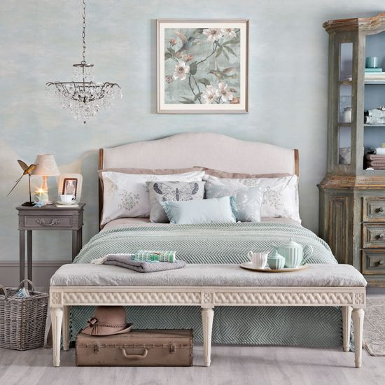 Our Coco in natural linen, styled in Ideal Home's Duck bedroom ideas - vintage bedroom.