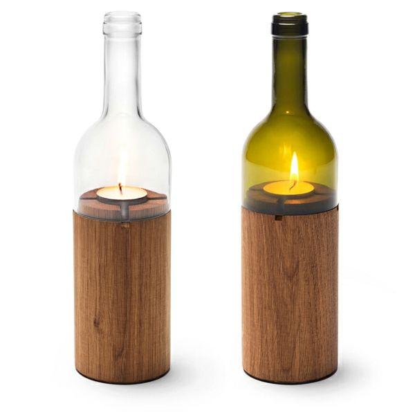 Bastelideen für DIY Projekte aus Weinflaschen holz kerzenhalter