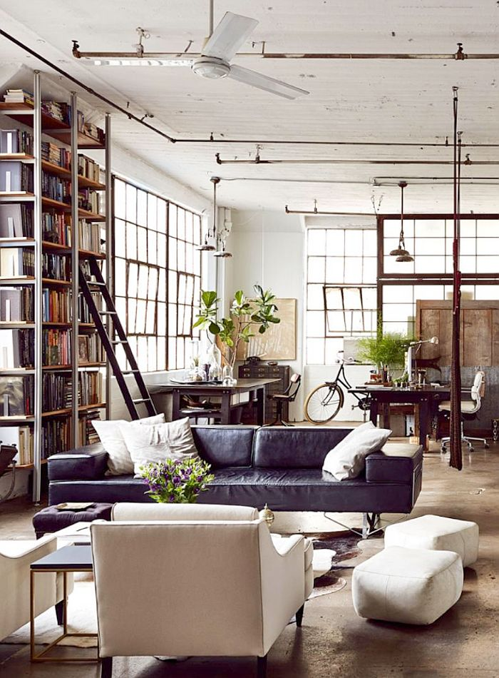 Chic Contemporary Spaces Rendered By Anh Nguyen: Brooklyn Loft, Leather Jacket & Chocolate Cake (Debra