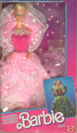 1985 Dream Glow Barbie, I definitely had this one!  You had to make sure it was under a lightbulb for a long time for it to glow.