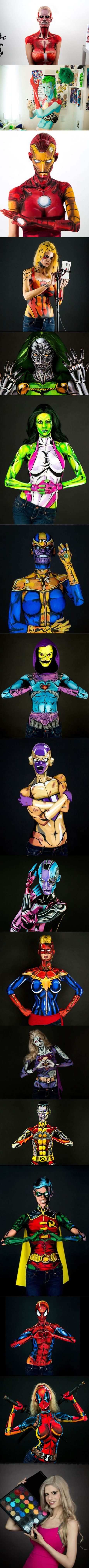 Artist Transforms Herself Into Comic Book Heroes And Villains Using Just Body Paint (By Kay Pike)