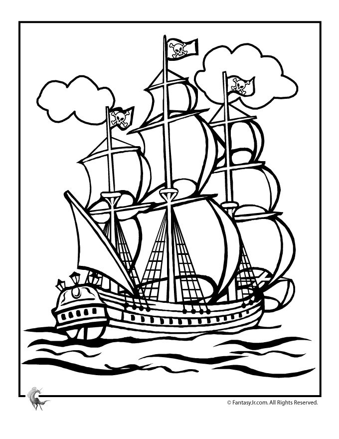 pirate coloring page printables pirate ship coloring page fantasy jr
