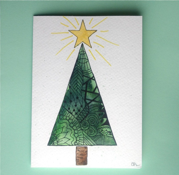 Watercolor card No 2 Christmas card zentangle by ArtworksEclectic