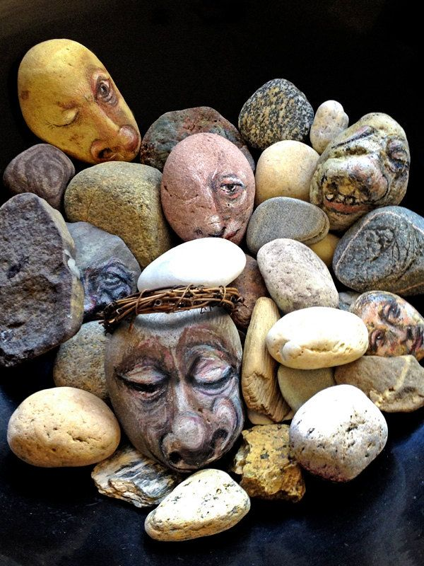 faces on stones
