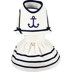 Posh Puppy Boutique is a shop for designer dog clothes and accessories - Nautical Anchors Away Dress puppy Shop By Designer - Toni Mari, pet toys, collars, carriers, treats, stunning bowls, diaper, belly bands, id tags, harnesses, apparel