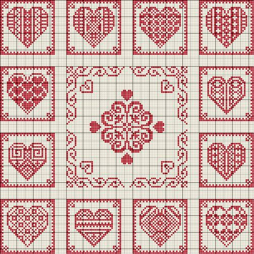 Grilles Coeurs en boîtes - Carton-Marie, site in French but pattern perfectly readable...this would make a cute wedding sampler!