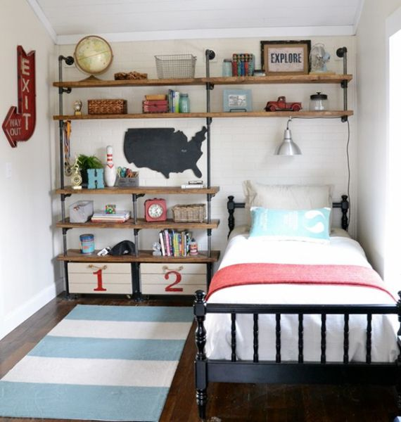 Industrial Boy Bedroom ~ cute way to decorate a really small bedroom!