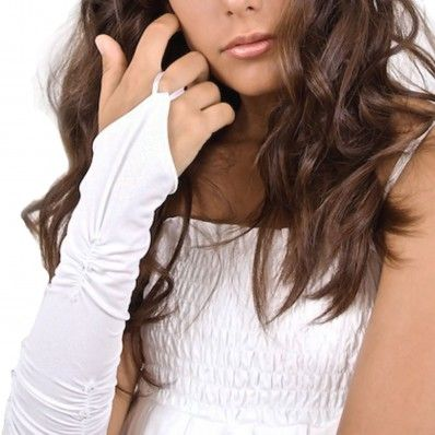 Bridal Long Satin Gloves With Beads - Guanti Per Sposa Lunghi In Raso Con Perline