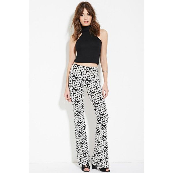 Forever 21 Women's  Floral Print Flared Pants ($13) ❤ liked on Polyvore featuring pants, floral trousers, white flared trousers, floral pants, floral-print pants and rayon pants