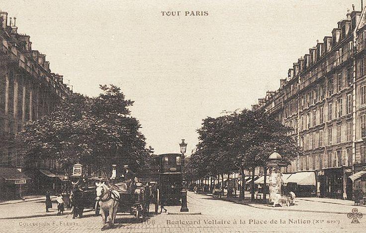 Le boulevard Voltaire au niveau de la place de la Nation, vers 1900.